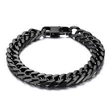 mens black steel bracelet images Durable black stainless steel bracelet men heavy wide mens curb jpg