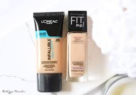 maybelline fit me dewy smooth vs loreal infallible pro glow