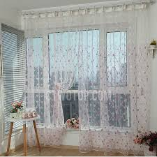 brilliant red polyester sheer curtain embroidered with floral