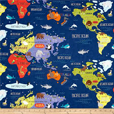 World Map North America by Moda Hello World Map Navy Discount Designer Fabric Fabric Com