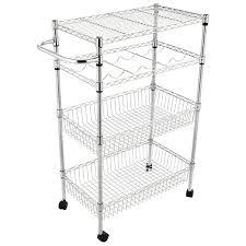 4 tier 2 baskets kitchen rolling steel trolley cart island wire