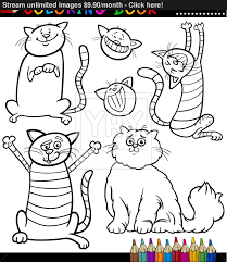 cartoon cats or kittens coloring page vector yayimages com