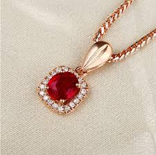 red gold necklace images 0 75ct real natural burma red ruby pendant necklace with 18k rose jpg