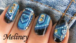 stud nails denim jeans nail art tutorial gold trend nail design