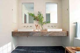 Floating Bathroom Sink by Reclaimed Wood Floating Sink Vanity With His And Hers Vessel Sinks