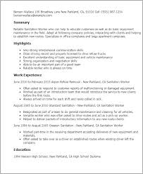 Caseworker Job Description For Resume by Professional Sanitation Worker Templates To Showcase Your Talent