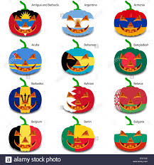 halloween flags set pumpkins for halloween as a flags of the world vector illus
