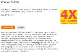 gift card for travel expired 4x fuel points on travel gift cards at kroger frequent miler