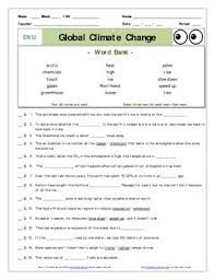 Global Warming Worksheet An Of Nye Global Climate Change En12 Worksheet Ans