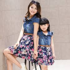 family set fashion denim dress clothes for and