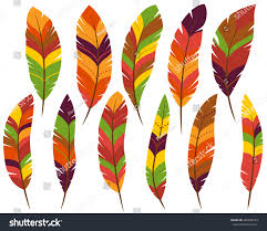 thanksgiving fall colored feathers stock vector 496878073