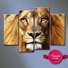 amazon com nuolanart 4 panels large size cool lion face canvas