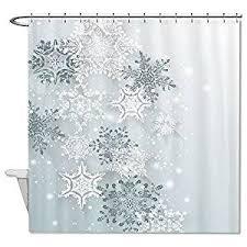 truiuiui snowflake winter shower curtain polyester