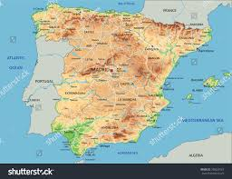 physical map of spain high detailed spain physical map labeling stock vector 358067024