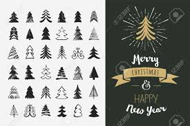 hand drawn christmas tree icons doodles and sketches royalty free