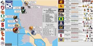Map Of Washington State Coast by Ncaa Fb Pac 10 U0026 Pac 12 Billsportsmaps Com