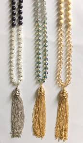 tassel necklace bead images 8mm smooth and faceted glass beads tassel necklace cream navy grey jpg