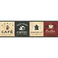 wallpaper borders coffee cups coffee wallpaper borders for kitchen amazon com