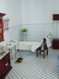 Dolls House Bathroom Furniture Black And White Tiled Flooring In A Doll House Bathroom