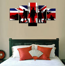 army home decor aliexpress com buy 5 panels canvas uk flag and army painting on