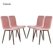 Pink Dining Room Chairs Amazon Com Set Of 4 Dining Chairs Coavas Fabric Cushion Kitchen