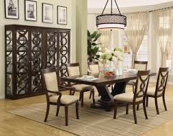 dining rooms metal chandelier brown curtain soft blue area rug