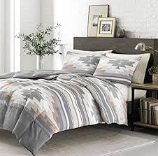 Tribal Pattern Comforter 3 Piece Grey Tan White Southwest Comforter King Set Native