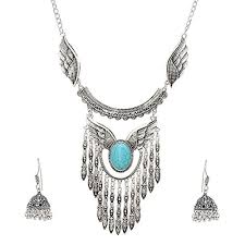 boho necklace set images Jewels emporium antique oxidized german silver plated boho tassel jpg