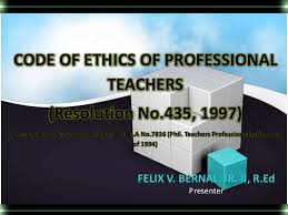 Counseling Code Of Ethics Philippines Code Of Ethics For Professional Teachers Of The Philippines