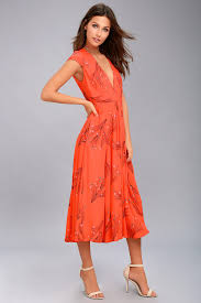 orange dress free retro coral orange floral print midi dress