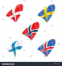 Scandanavian Flags Official Flags Scandinavian Countries Denmark Sweden Stock Vector