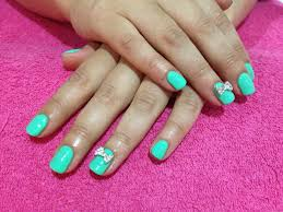mint green gel nails with diamond 3d bows claws pinterest