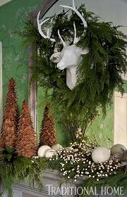 Christmas Deer Mantel Decorations by 185 Best Christmas Mantels Images On Pinterest Christmas