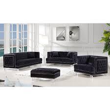 tufted velvet sofa meridian furniture 609bl s lucas black tufted velvet sofa w