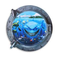 3d underwater world and shark style removable pvc wall stickers
