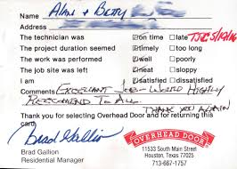 Professional Overhead Door by Customer Testimonials Overhead Door Company Of South Central Texas