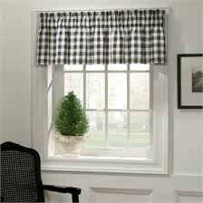 Black And White Checkered Curtains Classic Check Midnight Black Valance On Kitchen Bay Windows