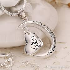 you necklace images Wholesale i love you to the moon and back heart pendant family jpg