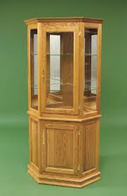 Corner Curio Cabinet Kit Hardwood Corner Curio Cabinet With Enclosed Base From Dutchcrafters