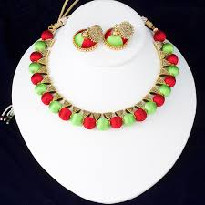 green color necklace set images Indian silk thread jewelry set antique choker necklace and jpg