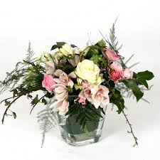 White Roses In A Vase Lovely White Rose And Orchid Flower Arrangement In Glass Cube Vase