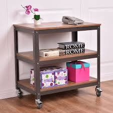 costway 3 tier wood metal rolling cart storage bookcase rack shelf