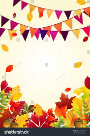 autumn leaves background party flagsvector stock vector 430671580