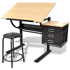 Tabletop Drafting Table Three Drawers Tiltable Tabletop Drawing Table With Stool