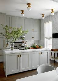 a classic grey kitchen with beautiful brass accents and flush