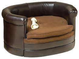 rover oval chocolate brown leather pet sofa bed contemporary dog