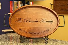 personalized photo serving tray an oval serving tray custom carved for your family gathering wood