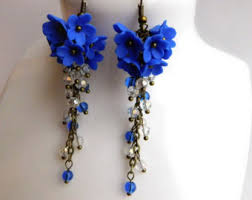 royal blue earrings cluster earrings etsy
