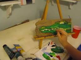 Barn Wood Paintings Beginner Acrylic Painting Tutorial Whimsical Alligator On
