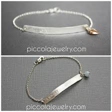 bracelet with name images Skinny thin silver bar bracelet with name birthstone or heart jpg